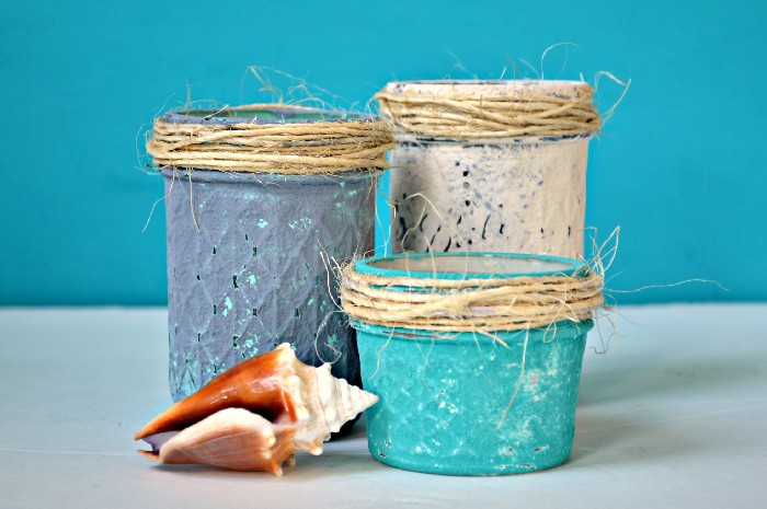 BEACHY MASON JARS (WITH COASTAL TEXTURE PAINT)