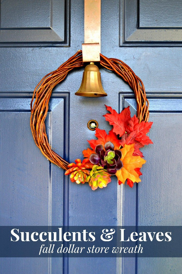 SUCCULENTS & LEAVES FALL DOLLAR STORE WREATH