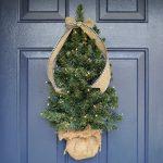 FRONT DOOR CHRISTMAS TREE WITH LIGHTS