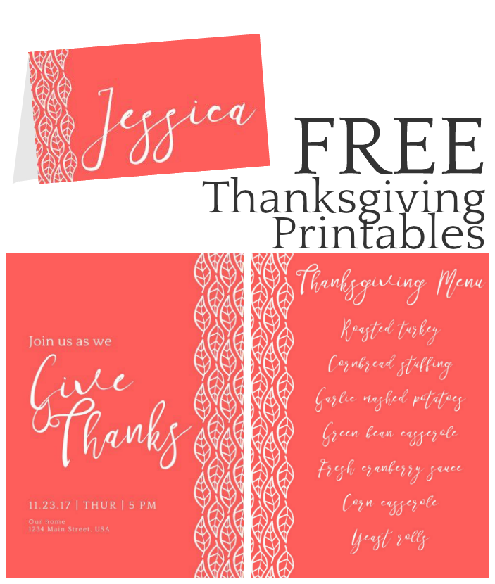 THANKSGIVING PRINTABLES – INVITATION, PLACE CARDS & MENUS