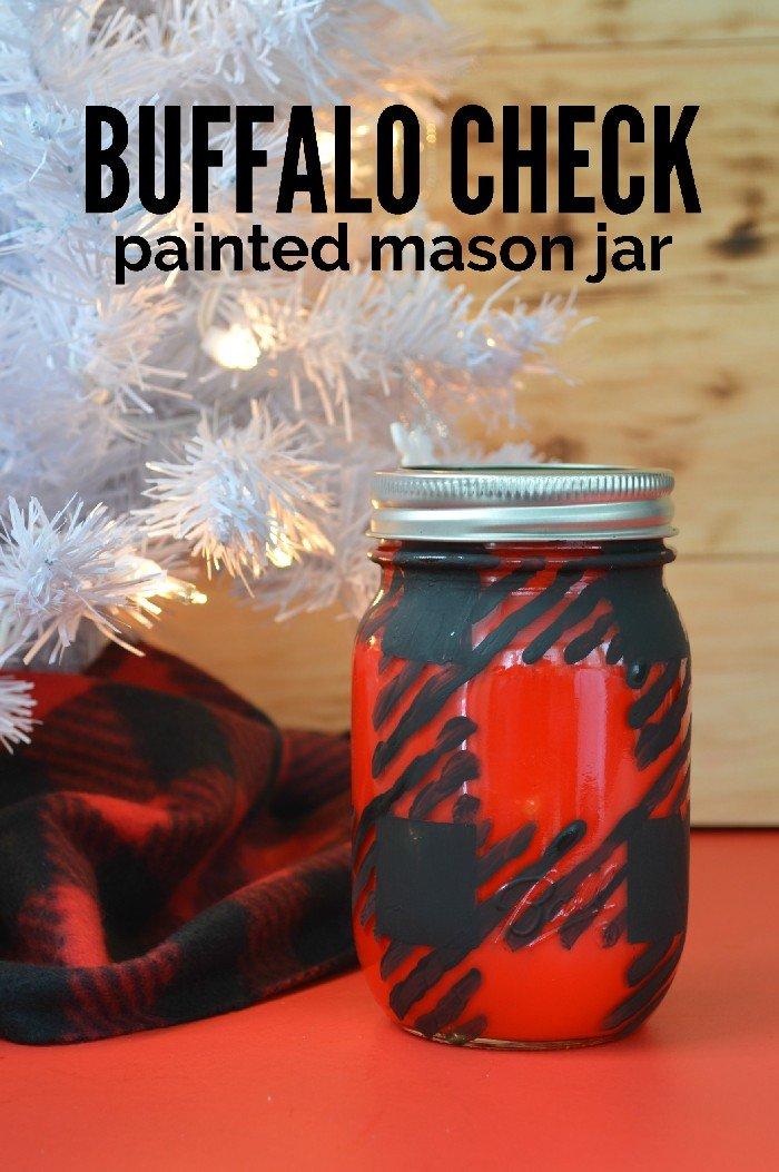 BUFFALO CHECK PAINTED MASON JAR