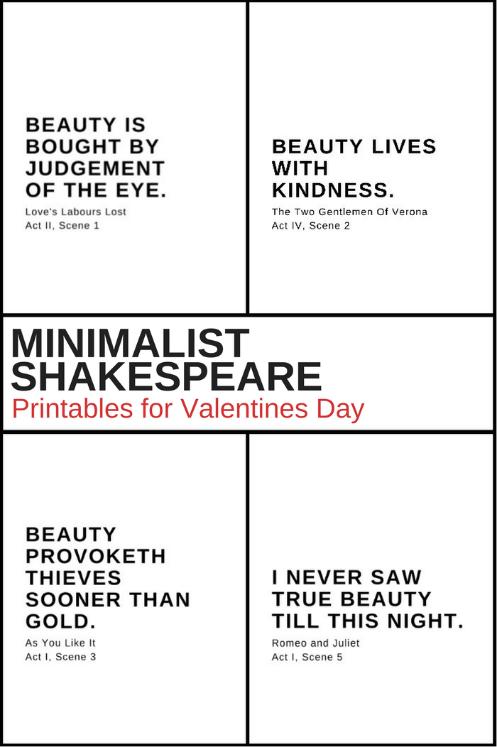 MINIMALIST SHAKESPEARE PRINTABLES