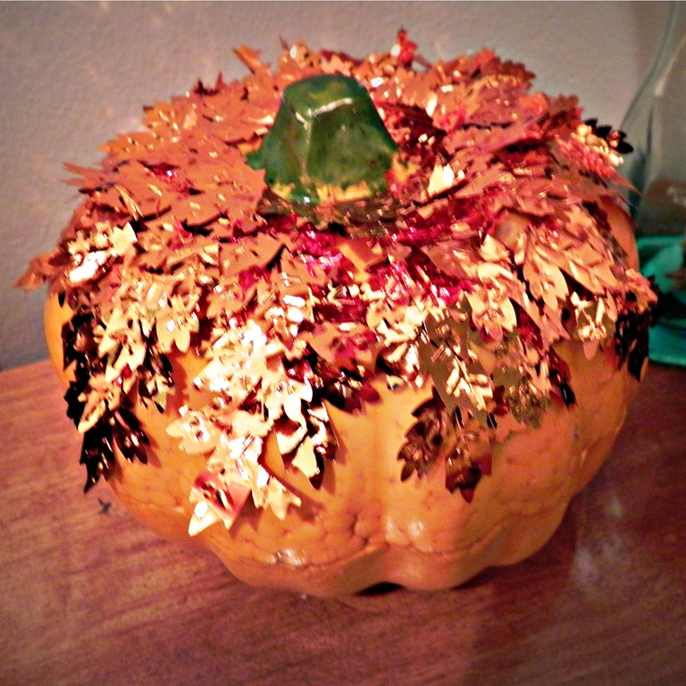 """""""Gold Leafed"""" Pumpkin: Dollar Store Style"""