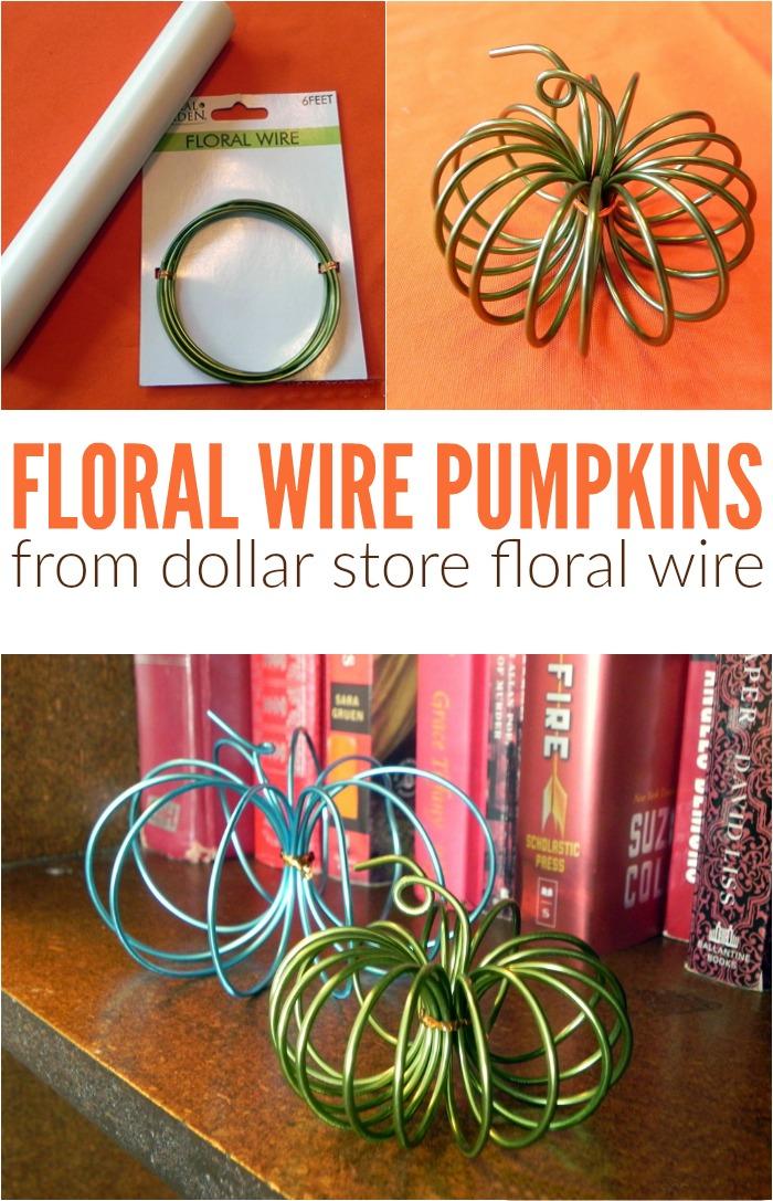Dollar Store Floral Wire Pumpkins