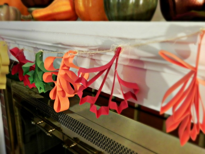 paper leaves garland closeup