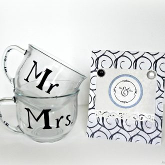 """Mr. and Mrs."" Mugs – a black and white wedding gift"