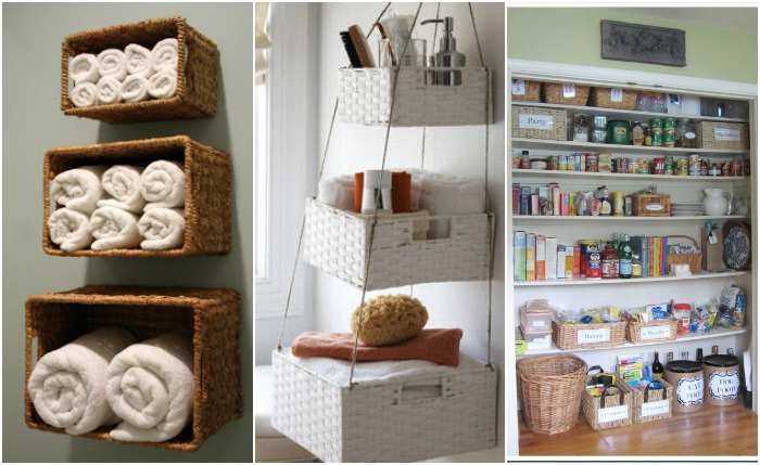Organize your whole house with one trip to the dollar - Bathroom storage baskets shelves ...