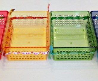 Rainbow Ribbon Bins (from the dollar store)