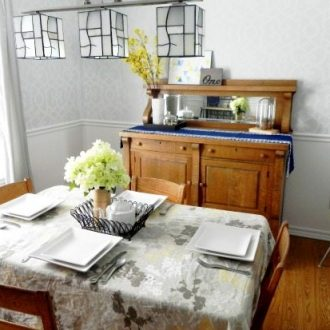The Mad House: Our Grey, Blue, and Yellow Dining Room