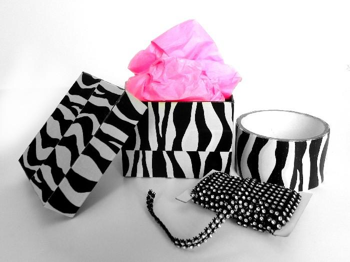 Zebra and Bling Reusable Gift Box