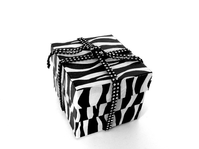 Zebra and Bling Reusable Gift Box