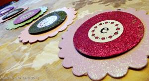 glittered chipboard flowers