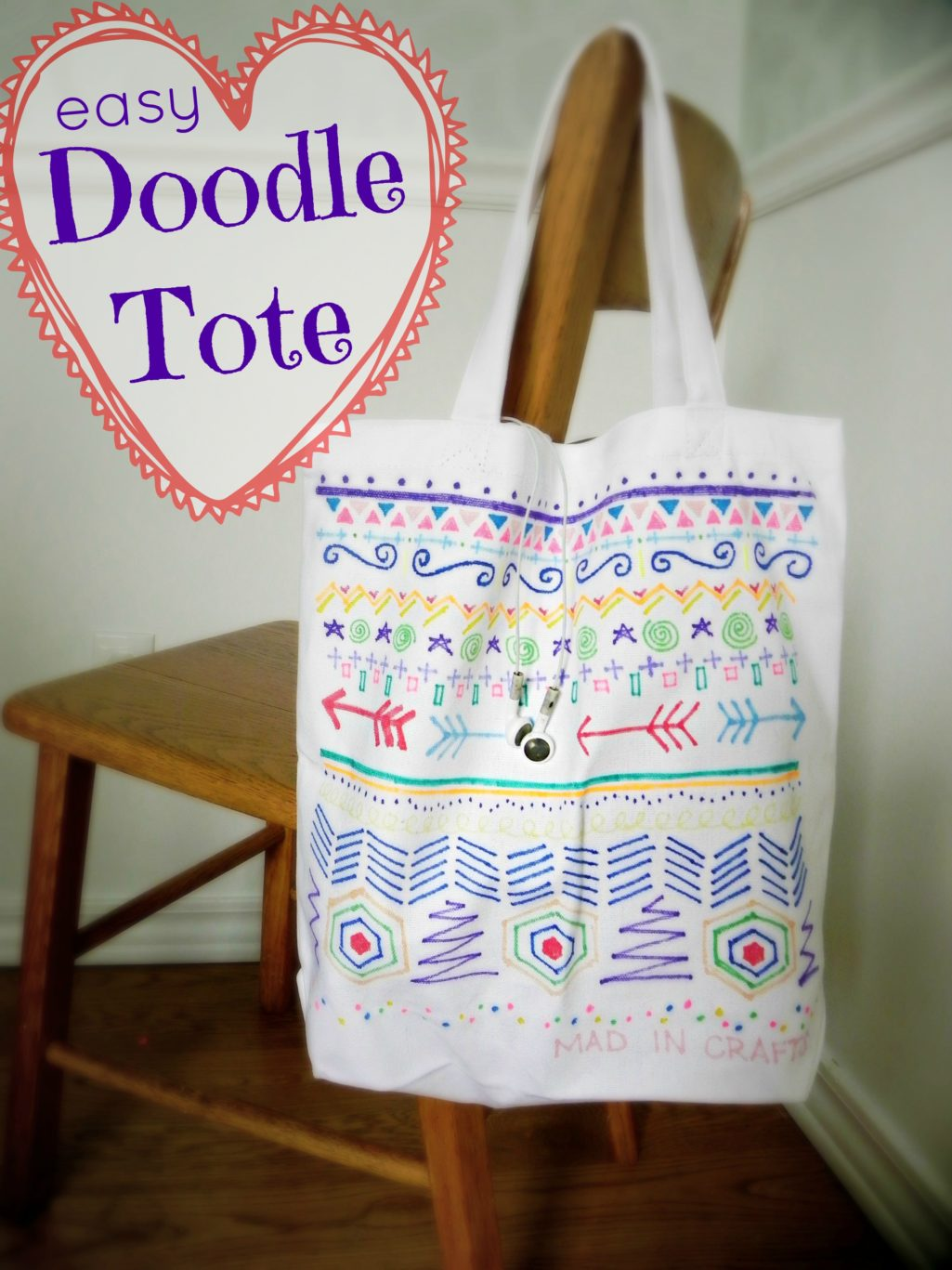 totes adorbs simple doodle tote bag mad in crafts