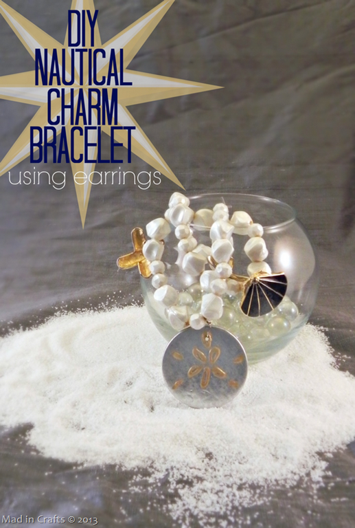 DIY Nautical Charm Bracelet Using Earrings