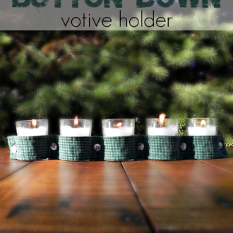 No-Sew Button Down Votive Holder