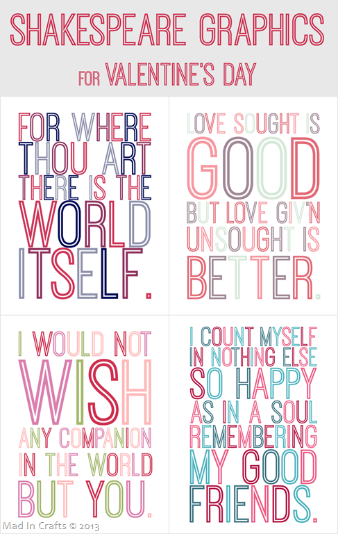 Shakespeare Quote Valentine's Day Printables