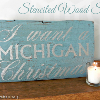 Michigan Christmas Stenciled Wood Sign