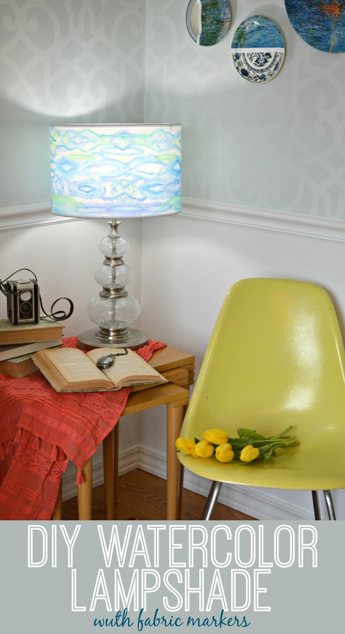 DIY Watercolor Lampshade with Fabric Markers - Mad in Crafts