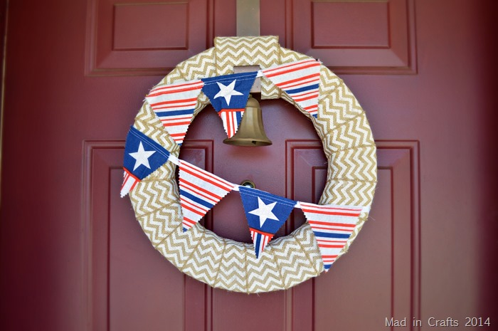 Quick Patriotic Bunting on Wreath