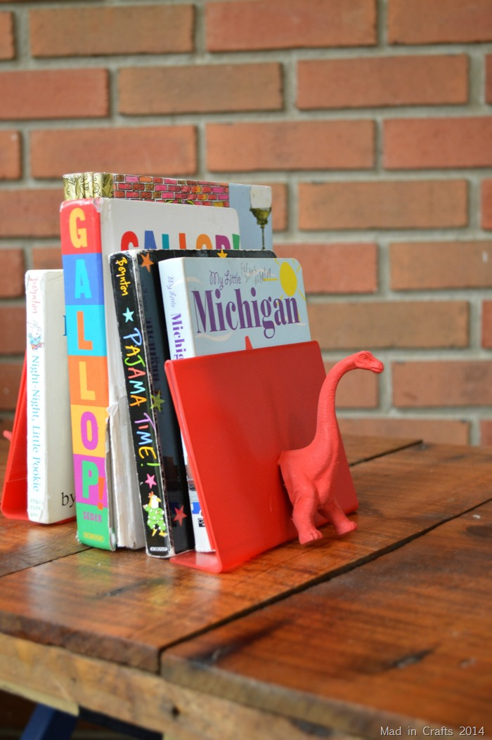 Spray Painted Dinosaur Bookends