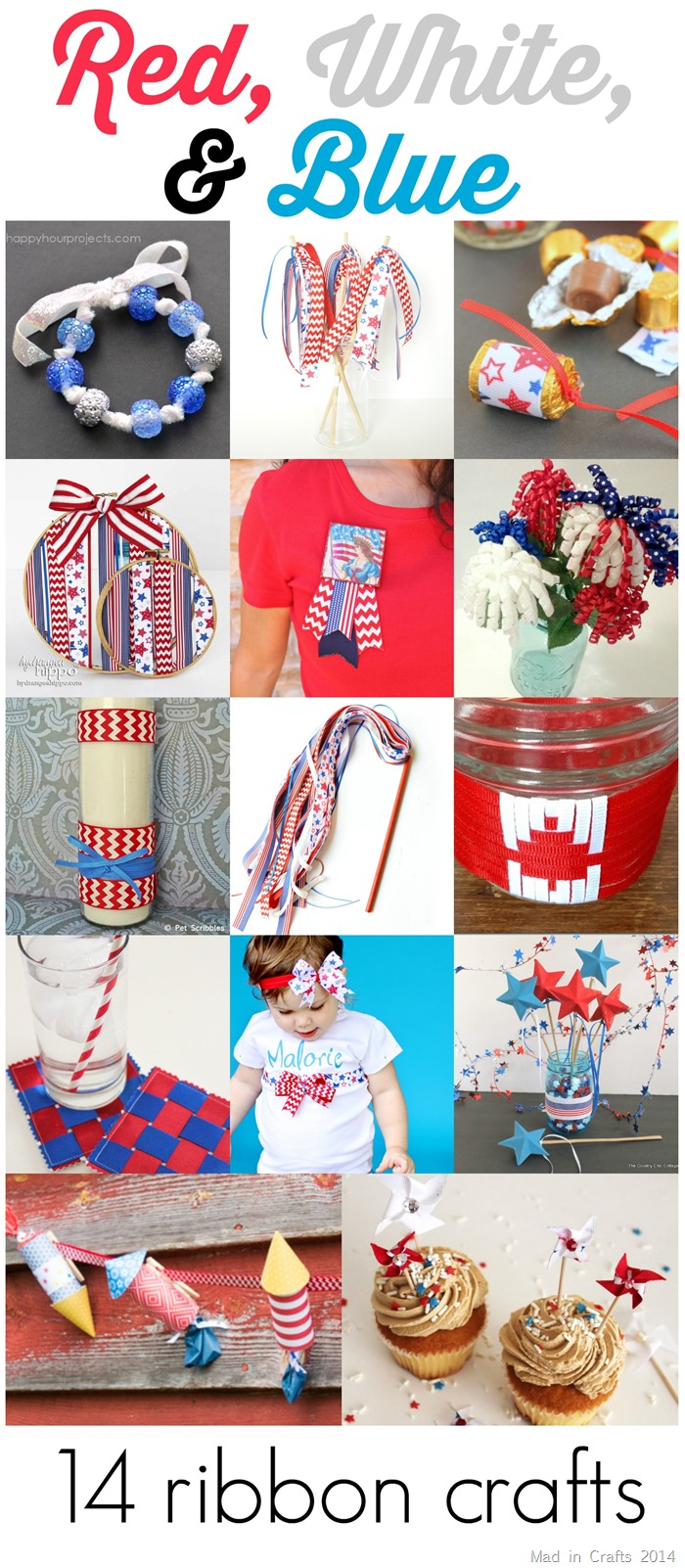 14 Red, White and Blue Ribbon Crafts