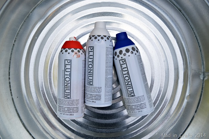 Red white and blue Plutonium spray paint