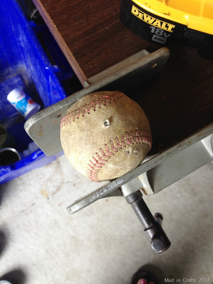 Hole drilled in baseball