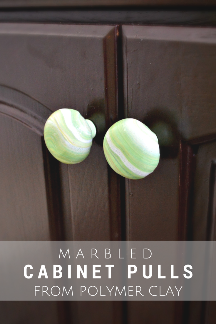Marbled Cabinet Pulls from Polymer Clay