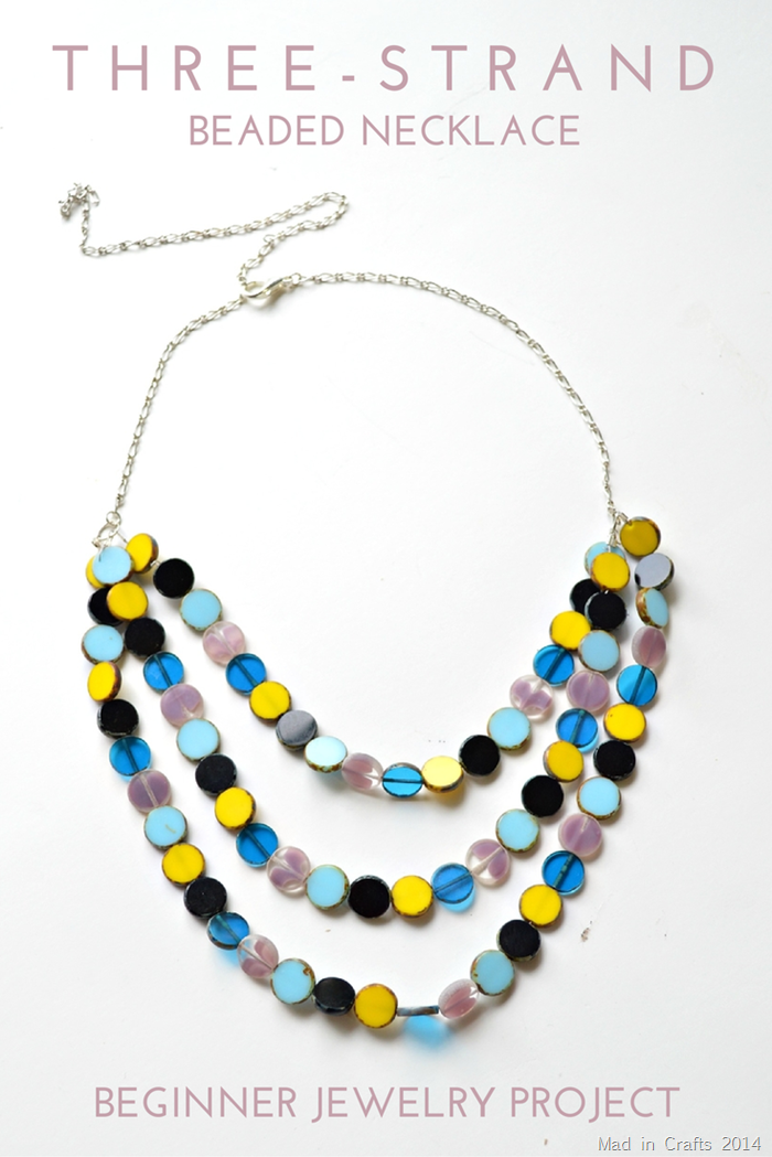 Simple Three Strand Beaded Necklace Tutorial