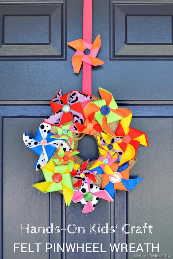 HANDS ON CRAFTS FOR KIDS: FELT PINWHEEL WREATH