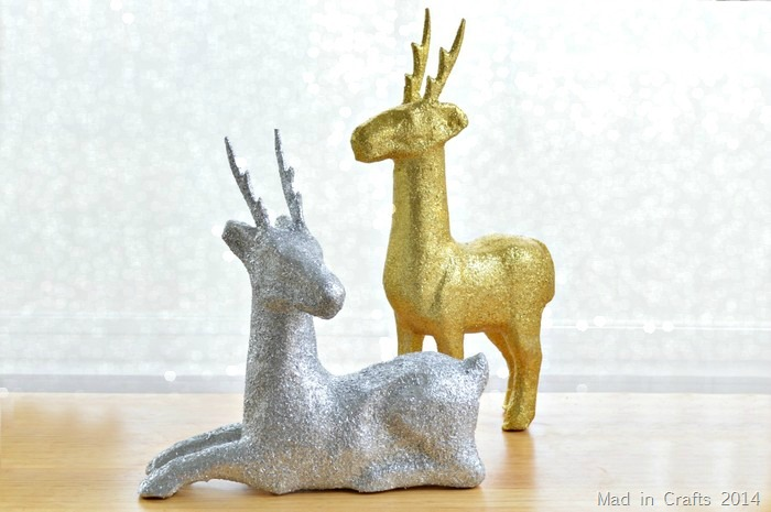 GLITTERED PAPER MACHE DEER DECORATIONS