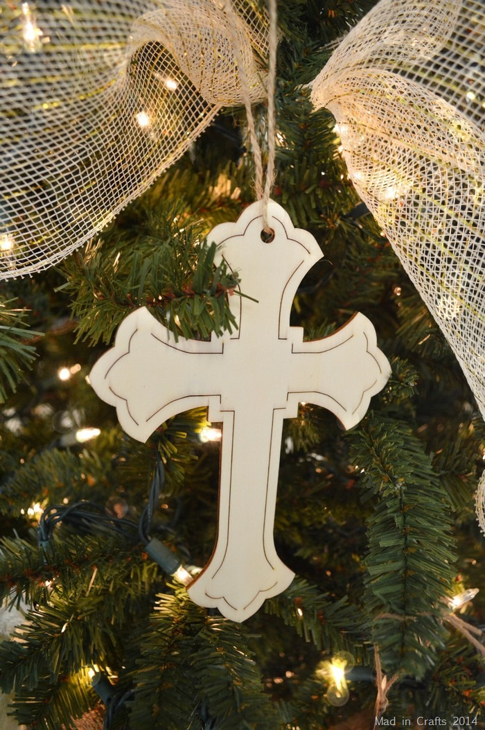 raw wood cross ornaments
