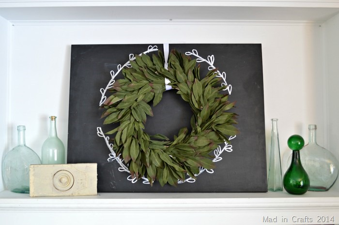 Simple Chalkboard and Wreath Mantel