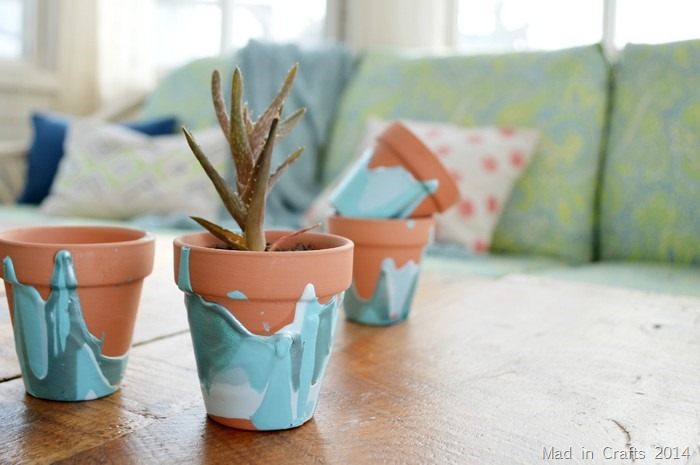 Paint Drip Flower Pots