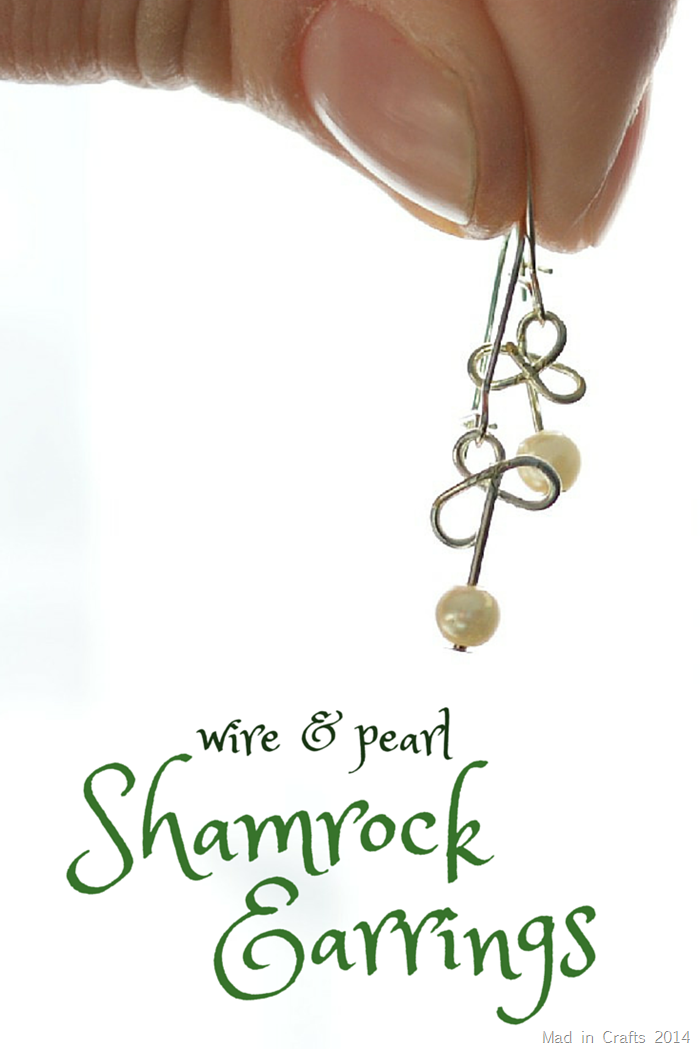 WIRE AND PEARL SHAMROCK EARRINGS