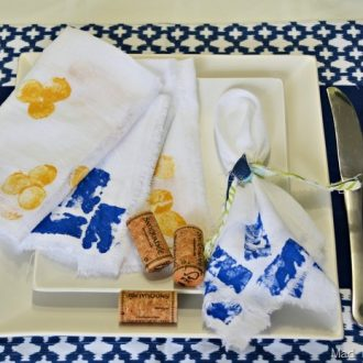 CORK STAMPED RAW EDGE CLOTH NAPKINS