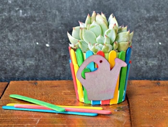Mad in Crafts & CRAFT STICK FLOWER POT Mad in Crafts