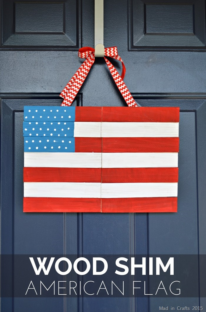 Make an American flag hanging from inexpensive wood shims
