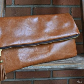 DIY LEATHER FOLDOVER CLUTCH WITH TASSEL