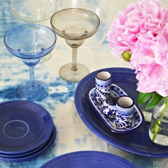 DIY FAUX SHIBORI TABLECLOTH