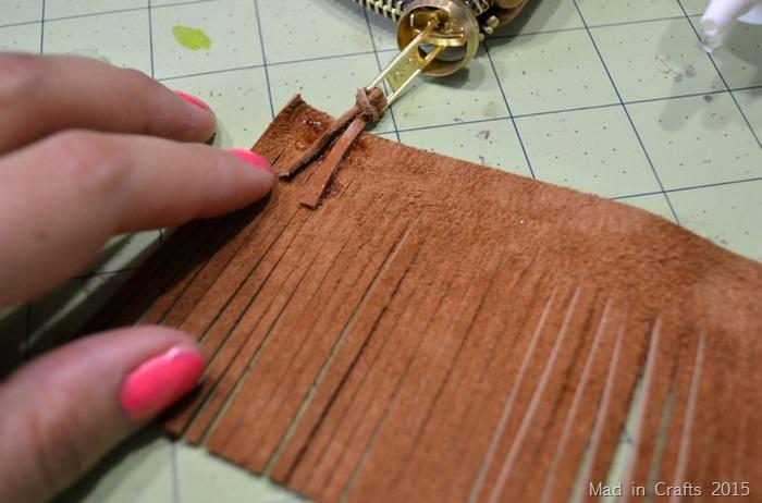 glue lacing to fringe