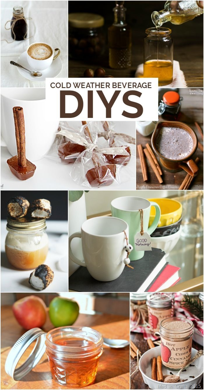 Crafts and recipes for cold weather beverages like coffee, cider, tea, and cocoa!