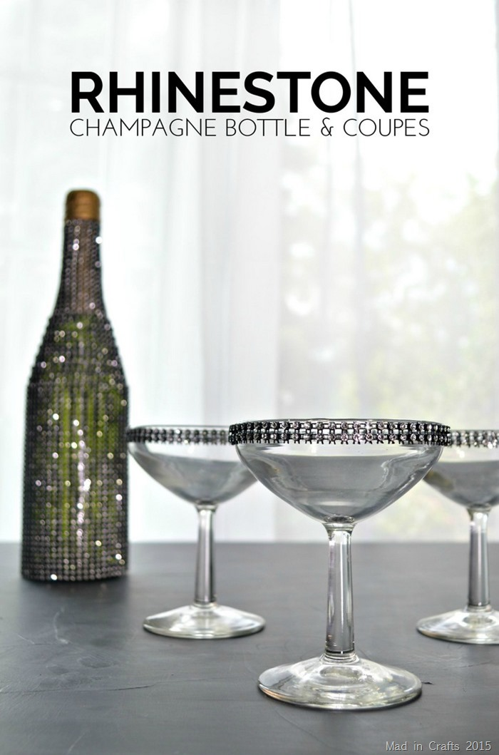 RHINESTONE BOTTLE & CHAMPAGNE GLASSES