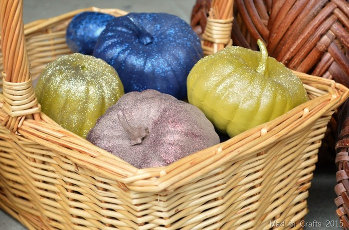 colorful glitter pumpkins
