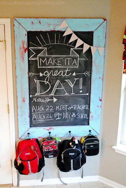 diy chalkboard backpack station tutorial