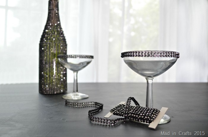 rhinestone accented champagne glasses