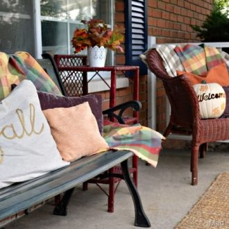 PURPLE AND BRONZE FALL FRONT PORCH