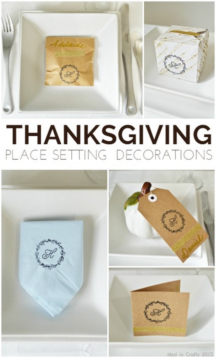 5 Stamped Thanksgiving Place Setting Decoraitons