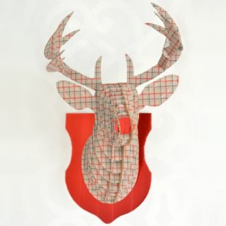 PLAID CARDBOARD DEER HEAD