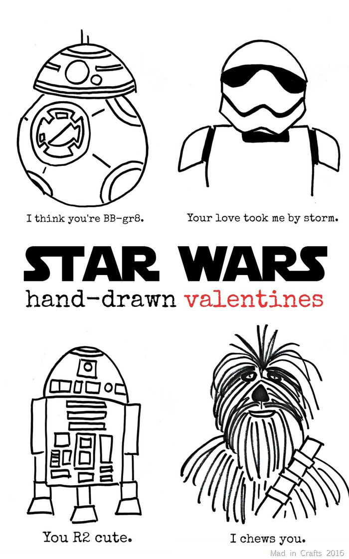 Hand-Drawn Star Wars Valentines